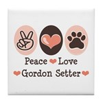 Peace Love Gordon Setter Tile Coaster