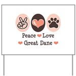 Peace Love Great Dane Yard Sign