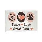Peace Love Great Dane Rectangle Magnet (100 pack)