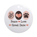 Peace Love Great Dane Ornament (Round)