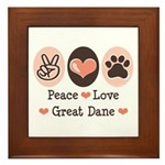 Peace Love Great Dane Framed Tile