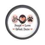 Peace Love Great Dane Wall Clock