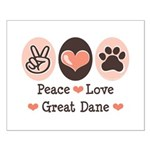 Peace Love Great Dane Small Poster