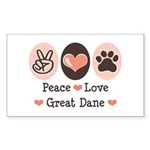 Peace Love Great Dane Rectangle Sticker