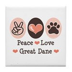 Peace Love Great Dane Tile Coaster
