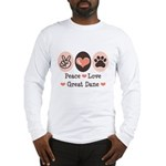 Peace Love Great Dane Long Sleeve T-Shirt