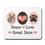 Peace Love Great Dane Mousepad