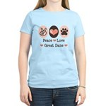 Peace Love Great Dane Women's Light T-Shirt