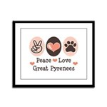 Peace Love Great Pyrenees Framed Panel Print