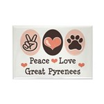 Peace Love Great Pyrenees Rectangle Magnet (10 pac