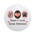 Peace Love Great Pyrenees Ornament (Round)