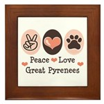 Peace Love Great Pyrenees Framed Tile