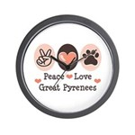Peace Love Great Pyrenees Wall Clock