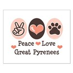 Peace Love Great Pyrenees Small Poster