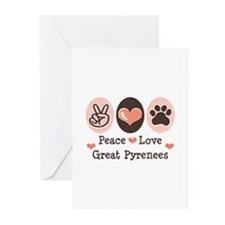 Peace Love Great Pyrenees Greeting Cards (Pk of 10