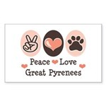 Peace Love Great Pyrenees Rectangle Sticker
