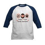 Peace Love Great Pyrenees Kids Baseball Jersey