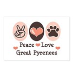 Peace Love Great Pyrenees Postcards (Package of 8)