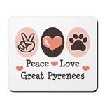 Peace Love Great Pyrenees Mousepad
