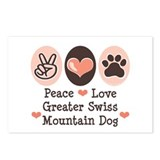Peace Love Swiss Mt Dog Postcards (Package of 8)