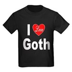 I Love Goth (Front) Kids Dark T-Shirt