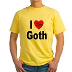I Love Goth (Front) Yellow T-Shirt