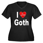 I Love Goth (Front) Women's Plus Size V-Neck Dark