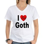 I Love Goth (Front) Women's V-Neck T-Shirt