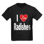 I Love Radishes (Front) Kids Dark T-Shirt