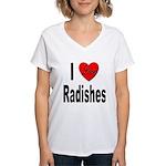 I Love Radishes (Front) Women's V-Neck T-Shirt