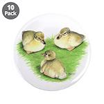 "Snowy Mallard Ducklings 3.5"" Button (10 pack)"