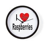 I Love Raspberries Wall Clock