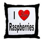 I Love Raspberries Throw Pillow