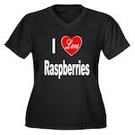 I Love Raspberries (Front) Women's Plus Size V-Nec