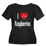 I Love Raspberries (Front) Women's Plus Size Scoop
