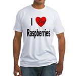 I Love Raspberries (Front) Fitted T-Shirt