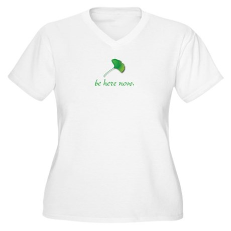 Be Here Now. Ginkgo leaf Women's Plus Size V-Neck