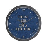 'TRUST ME -- I'M A DOCTOR' wall clock - blue