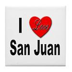 I Love San Juan Puerto Rico Tile Coaster