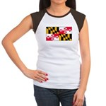 Maryland Blank Flag Women's Cap Sleeve T-Shirt
