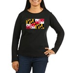 Maryland Blank Flag Women's Long Sleeve Dark T-Shi