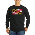Maryland Blank Flag Long Sleeve Dark T-Shirt