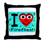 I (Heart) Fireflies Throw Pillow