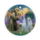 St Francis / 2 Irish Wolfhounds Ornament (Round)