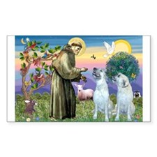 St Francis / 2 Irish Wolfhounds Sticker (Rectangul