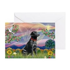 Cloud Angel & Black Lab Greeting Card