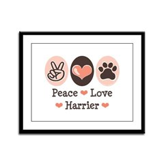 Peace Love Harrier Framed Panel Print