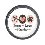 Peace Love Harrier Wall Clock