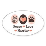 Peace Love Harrier Oval Sticker