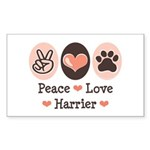 Peace Love Harrier Rectangle Sticker